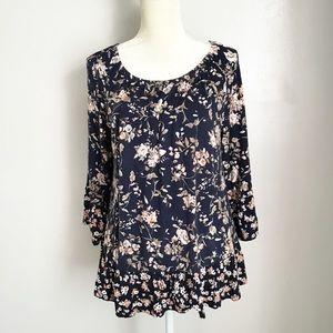 941a12647f488 Como Vintage. Boho Floral Ruffle Sleeve Peasant Blouse